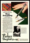 1929 Parker Pen Co. Janeville Wisconsin Duofold Fountain Pens Vintage Print Ad