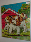 Three Puppies By A Doghouse 1950 Saalfield Frame-tray Puzzle Nice See
