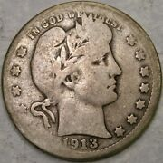 1913 S Barber Liberty Head Silver Quarter Very Rare Key Date Only 40,000 Struck