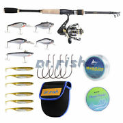 Bass Fishing Kit 5.9 Ft Rod And Reel Combo 9+1bb Lures Line Hooks Saltwater