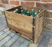 Vintage Crate Containing 12 Old Green Glass Bottles - Imported From India