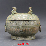 China Ancient Bronze Wrong Silver Four Phoenix Head Double Ring Furnace