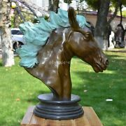 23and039and039 Bronze Sculpture Home Decorate Auspicious Good Fortune Horse Head Statue
