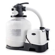 Intex 16 Inch 2150 Gph Krystal Clear Saltwater System And Sand Filter Pump Gray