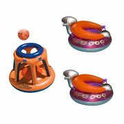 Swimline Basketball Hoop Toy And Ufo Lounge Chair Pool Float W/squirt Gun 2 Pack