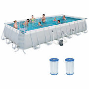 Bestway 24ft X 12ft X 52in Above Ground Swimming Pool Set W/ Cartridges 2 Pack