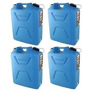 Wavian 5 Gallon Plastic Water Jug Can Container With Easy Pour Spout 4 Pack