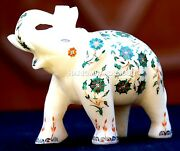 Antique Marble Elephant Statue Micro Malachite Marquetry Inlay Decor Gifts H1963