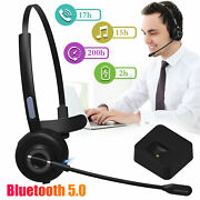 Noise Cancelling Wireless Bluetooth 5.0 Headset Over Ear Boom W/mic For Trucker