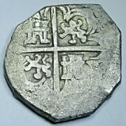 1600and039s Spanish Silver 2 Reales Cob Antique Colonial Two Bit Pirate Treasure Coin