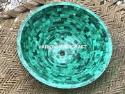 18x18and039and039 Green Marble Sink Malachite Mosaic Random Inlaid Collectible Home M315