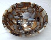 Adorable Marble Washbasin Agate Semi Precious Art Inlay Round Outdoor Gifts E417