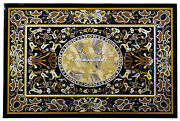 Black Marble Dining Table Top Abalone Inlaid With Pietradura Outdoor Decor H4411