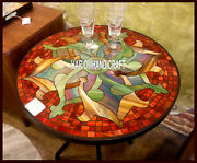 Antique Marble Dining Table Corner Top Inlay Marquetry Mosaic Outdoor Deco H3836