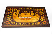 Ancient Vintage Marble Dining Top Table Inlaid Design Furniture Arts Decor H4892