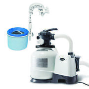 Intex Above Ground Pool Sand Filter Pump Bundled W/ Wall Mount Automatic Skimmer