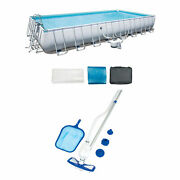 Bestway Rectangular Frame Swimming Pool Set With Cleaning And Maintenance Kit