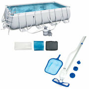 Bestway 18ft X 9ft X 48in Rectangular Frame Above Ground Pool And Cleaning Kit