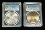 Lot Of 2 1979 Toned Mexican Onza Silver Coins Type 4 Pcgs Holder Ms66ms65 I876