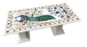 5and039x3and039 Marble Dining Table Top With 24 Stand Inlay Peacock Elephant Decor W081