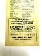 Lincolnalia Handout Griffith 1930 Film First All-time Picture Abraham Lincoln