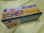 Tomiyama Cattle Truck And Pen Tin Toy Vehicle Vintage From Japan Free Shipping