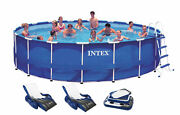 Intex 18ft X 48in Metal Frame Above Ground Round Family Swimming Pool Set And Pump