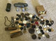 Lot Of Vintage Sewing 50+ Buttons 3 Wooden Needle Cases Thimbles Cases And More