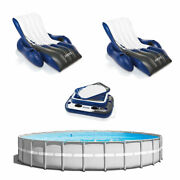 Intex 26ft X 52in Above Ground Pool W/ Inflatable Loungers And Floating Cooler