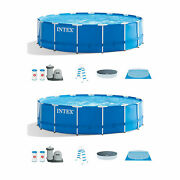 Intex 18ft X 48in Metal Frame Above Ground Pool Set W/filter And Pump 2 Pack