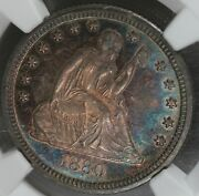 1880 Quarter, Old Silver Collector, Liberty Seated, 25 Cents, 25c Ngc Ms 64, Pq