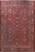 Antique All-over Floral Vegetable Dye Sarouk Farahan Large Area Rug Wool 11and039x14and039