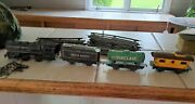 Vintage Marx O Tin Train Set Litho Steam Engine Toy Rr 1950and039s Electric Track San