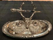 Vintage Silver Ink Well Desk Set With Letter Opener. Heavy Glass