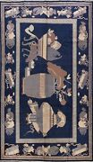 Antique Pictorial Navy Blue Khotan Egyptian Oriental Area Rug Collectible 6and039x10and039