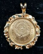 1959 22k Mexican 20 Pesos Coin And 14k Gold Nugget Pendant I882