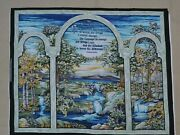 Cotton Fabric Panel, Cut And Sew Craft Stained Glass Serenity Prayer Wall Quilt