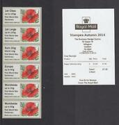 Gb 2014 Post And Go Poppy Ww 1 Centenary Collector Strip Of 6 Stampex Receipt 5r