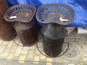 Vintage Indian Recycled Bar Stool / Chair - Milk Churn Body Iron Tractor Seat
