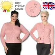 Banned Retro 40s Summer Flamingo Perforated Cardigan In Pretty Dainty Pink