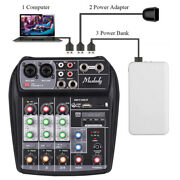 4-channels Sound Card Audio Mixing Console Bt Mp3 Usb With 48v Phantom Power