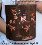 7 Antique Chinese Huanghuali Wood Inlay Shell Flower Bird Brush Pot Pencil Vase