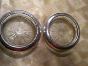 Pair Frank M. Whiting Sterling Silver And Pressed Glass Wine Bottle Coasters C1940