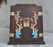 16antique Huanghuali Wood Inlay Shell Turquoise Treasure Chest Storage Cabinets