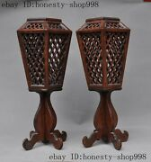 16huanghuali Wood Carved Auspicious Candlestick Candle Holders Palace Lanterns