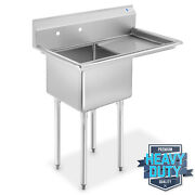 Nsf Stainless Steel 18 Single Bowl Commercial Kitchen Sink W/ Right Drainboard