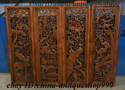 37 Antique Chinese Huang Huali Wood Carving Bird Phoenix Wall Hanging Plate Set