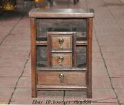 16 Old Chinese Dynasty Huanghuali Wood Carved Drawer Cabinet Storage Cabinets