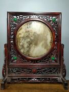 16 Collect China Dynasty Huali Wood Inlay Gem Marble Slab Folding Screen Statue
