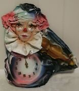 Paper Mache Clown Clock Blue Pink And White Signed Art